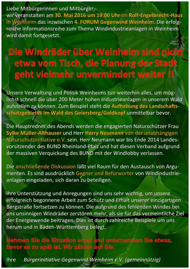 Flyer A5 hoch 4. Forum Gegenwind Weinheim 30.5.2016 Seite 2 FINAL-Seite001