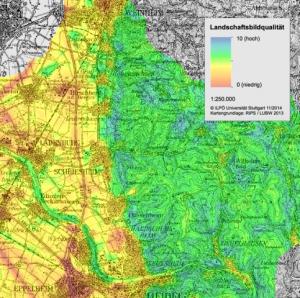 Bereich badische Bergstrasse (Kartenausschnitt) (Quelle: ILPÖ im Auftrag der LUBW)